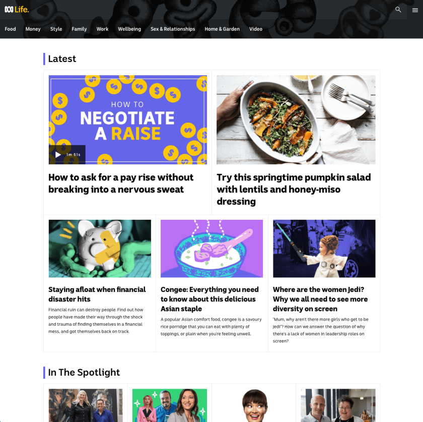 Screenshot of ABC Life homepage