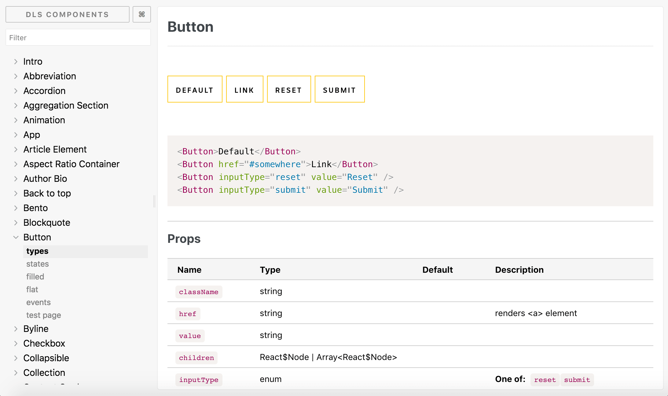 Screenshot of the Button component in our Storybook application