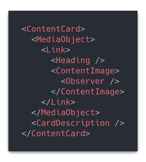 Code snippet of the content card structure